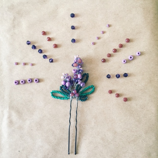 Purple hairpin in form of lavender purple with green leaves from beads