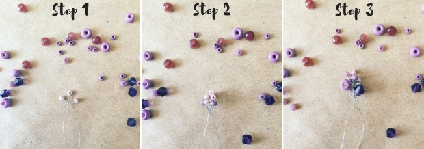 Step how to make a lavender flower from purple beads