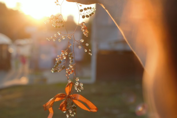 Beautiful crystals hair vine silhouette against the sun sparkling warm colors