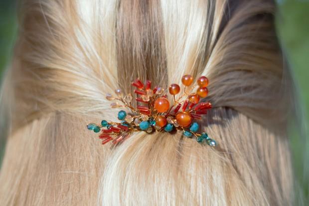 Autumn inspired handmade hair comb in hair bohemian touch