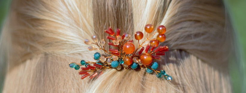 Autumn inspired handmade hair comb in hair bohemian touch