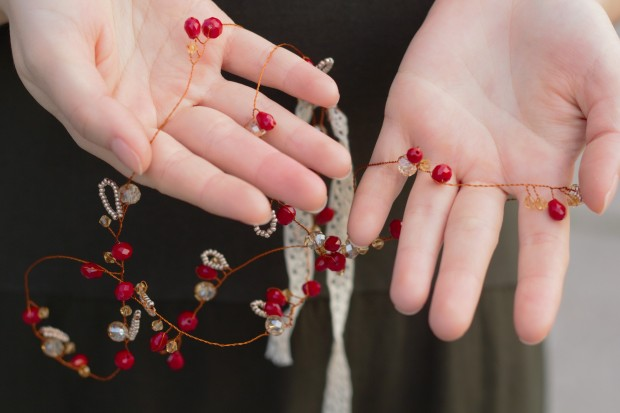 Handmade copper wire bohemian hair vine with red crystals and golden beads