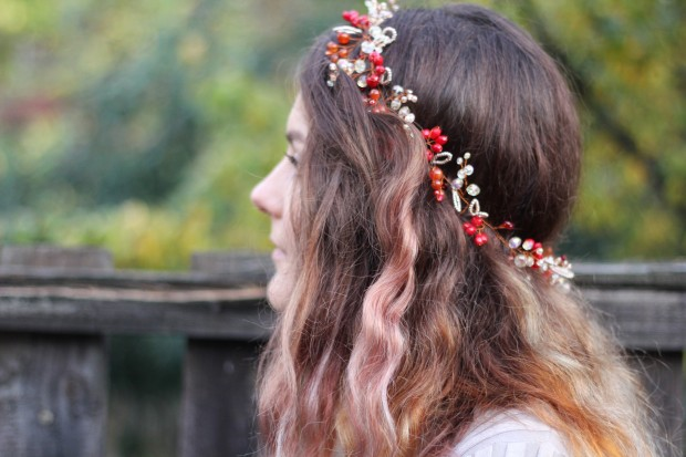 Beautiful hair wreath jewelry inspired by autumn from crystals