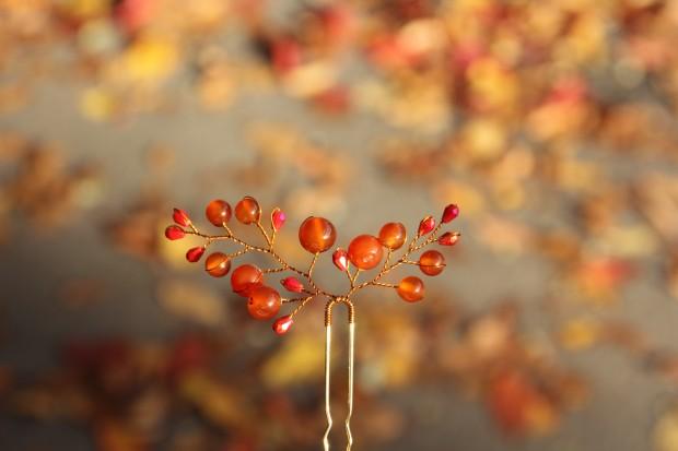 Orange hair pin