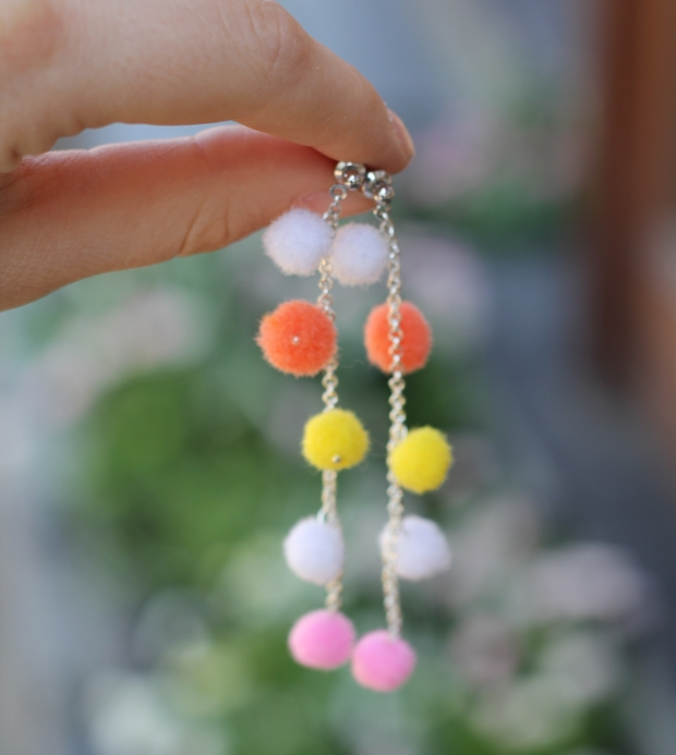 Colorful pompom earrings