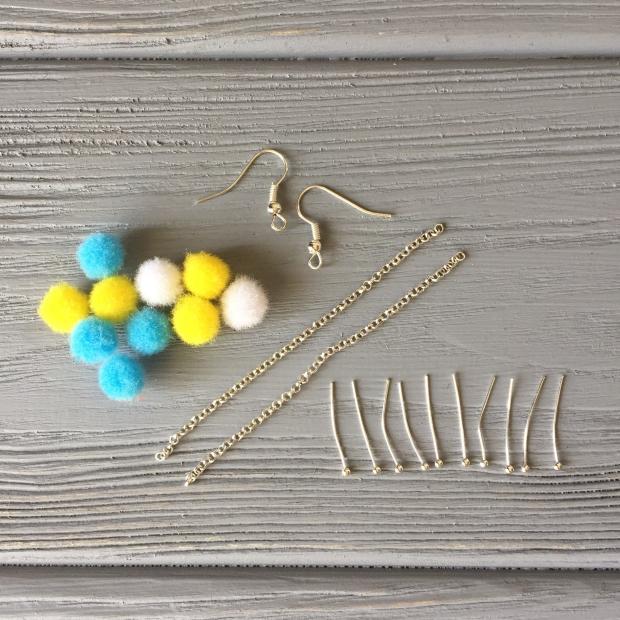 Pompoms, chain, pins, earring hooks