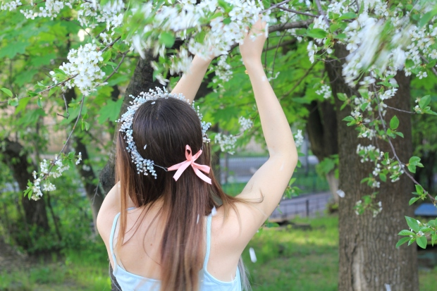 Spring hair wreath
