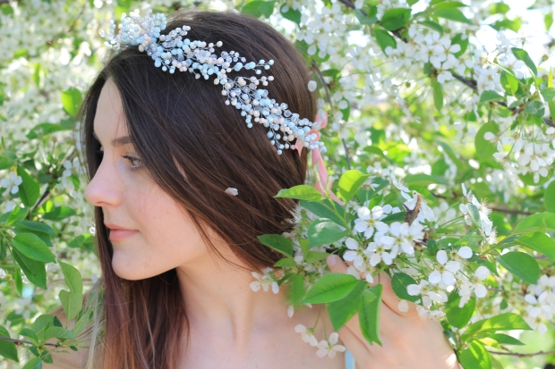 Spring wedding hair wreath