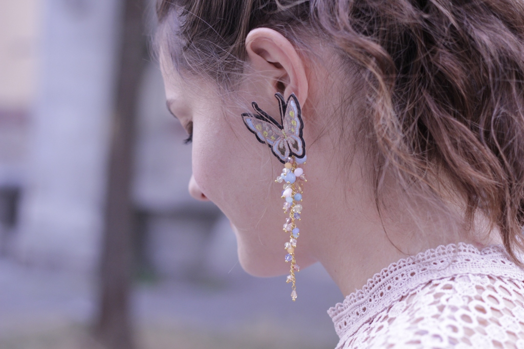 Earrings with butterflies